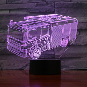 Firetruck 3D LED Illusion Night Light Lamp