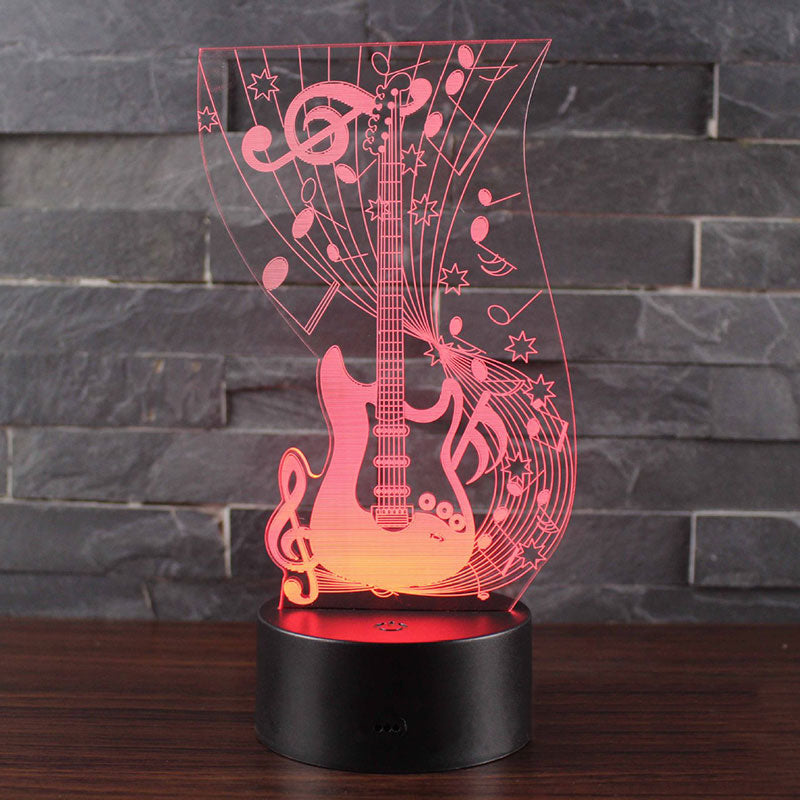 Guitar 3D LED Illusion Night Light Lamp