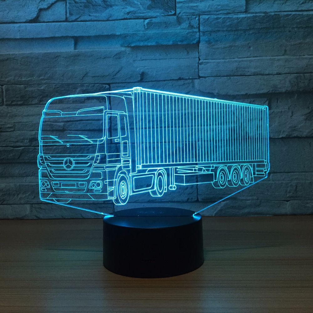 Truck Container 3D LED Illusion Night Light Lamp