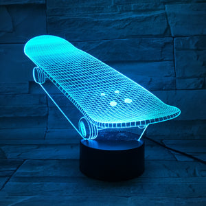 Cool Skateboard 3D LED Illusion Night Light Lamp