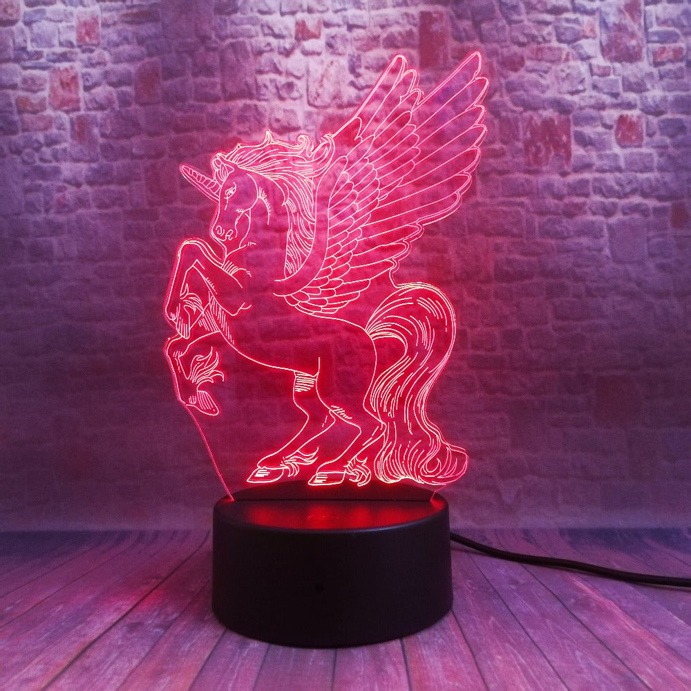 Pegasus Unicorn 3D LED Illusion Night Light Lamp