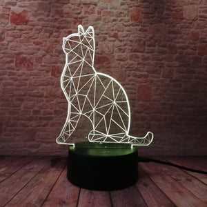 Abstract Cat 3D LED Illusion Night Light Lamp