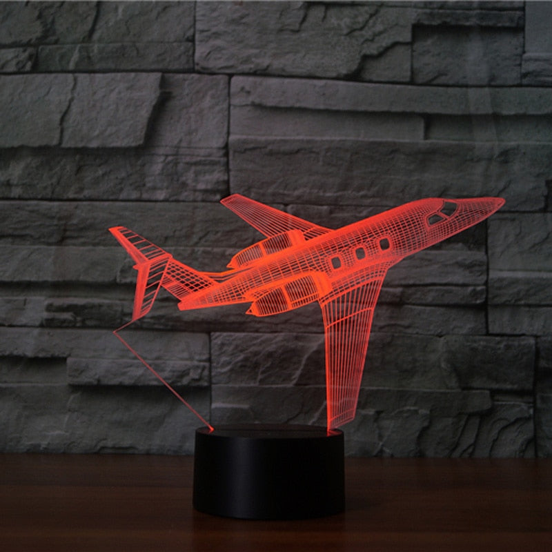 Private Jet Airplane 3D LED Illusion Night Light Lamp