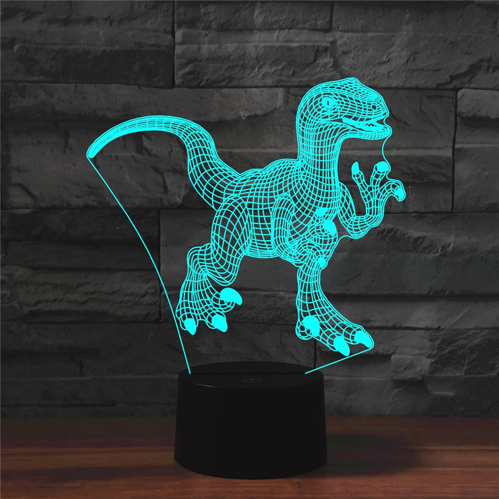 Cute Raptor Dinosaur 3D LED Illusion Night Light Lamp