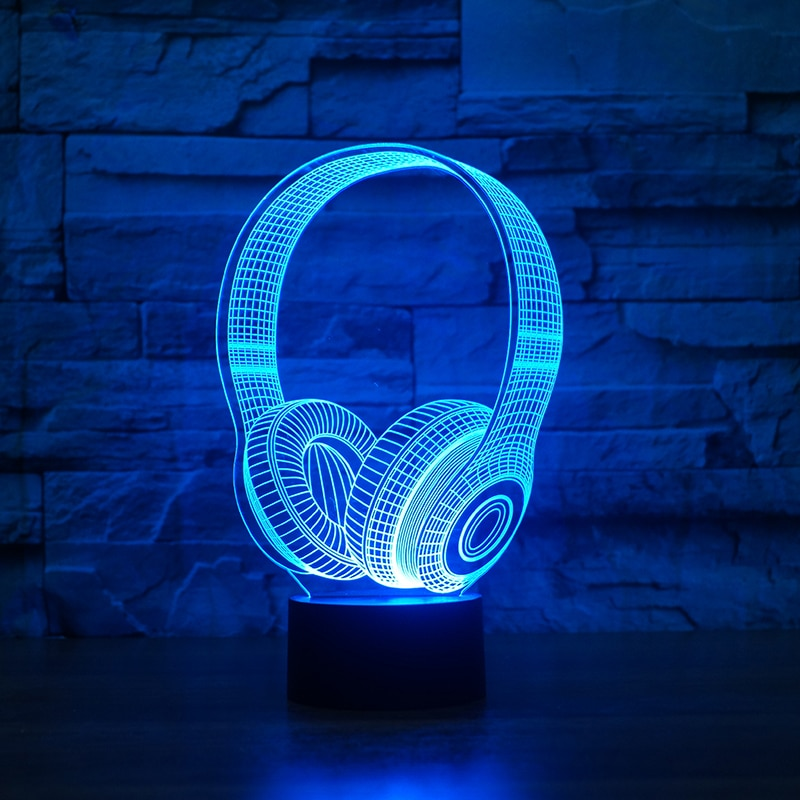 Headphone 3D LED Illusion Night Light Lamp