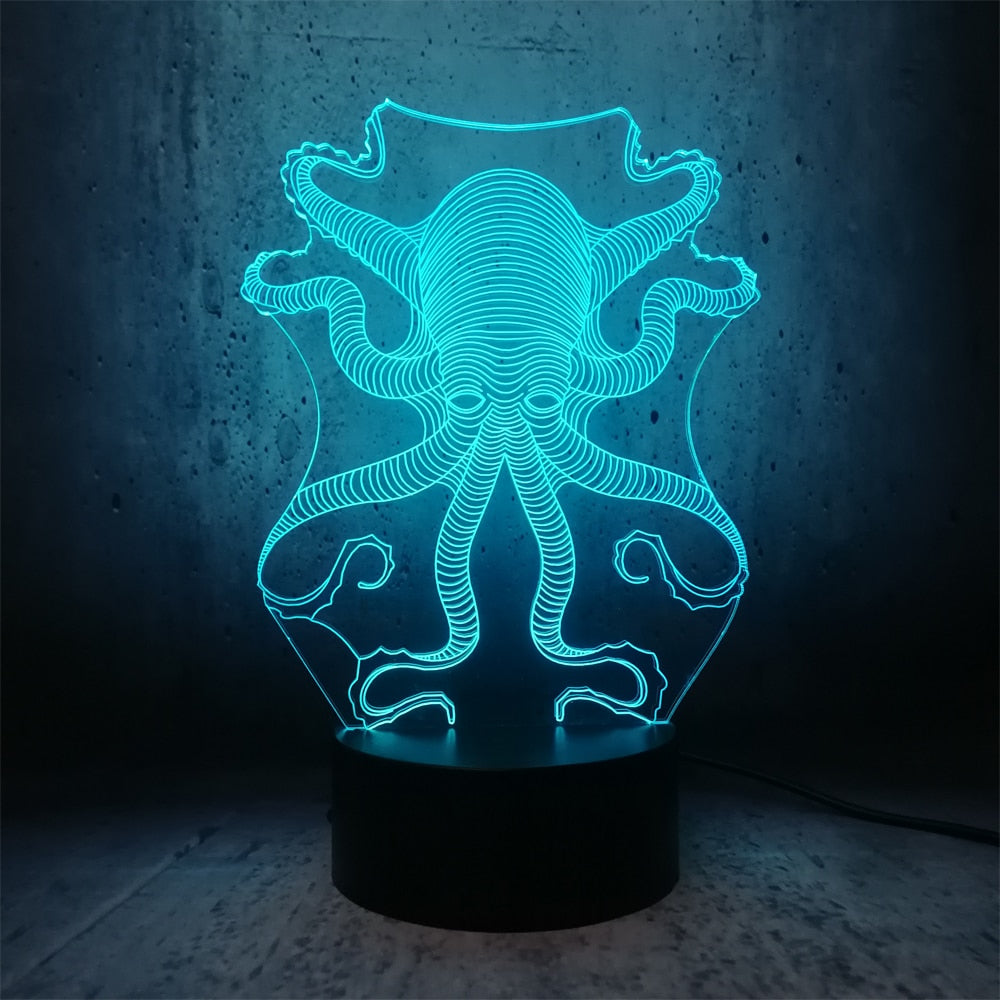 Octopus 3D LED Illusion Night Light Lamp