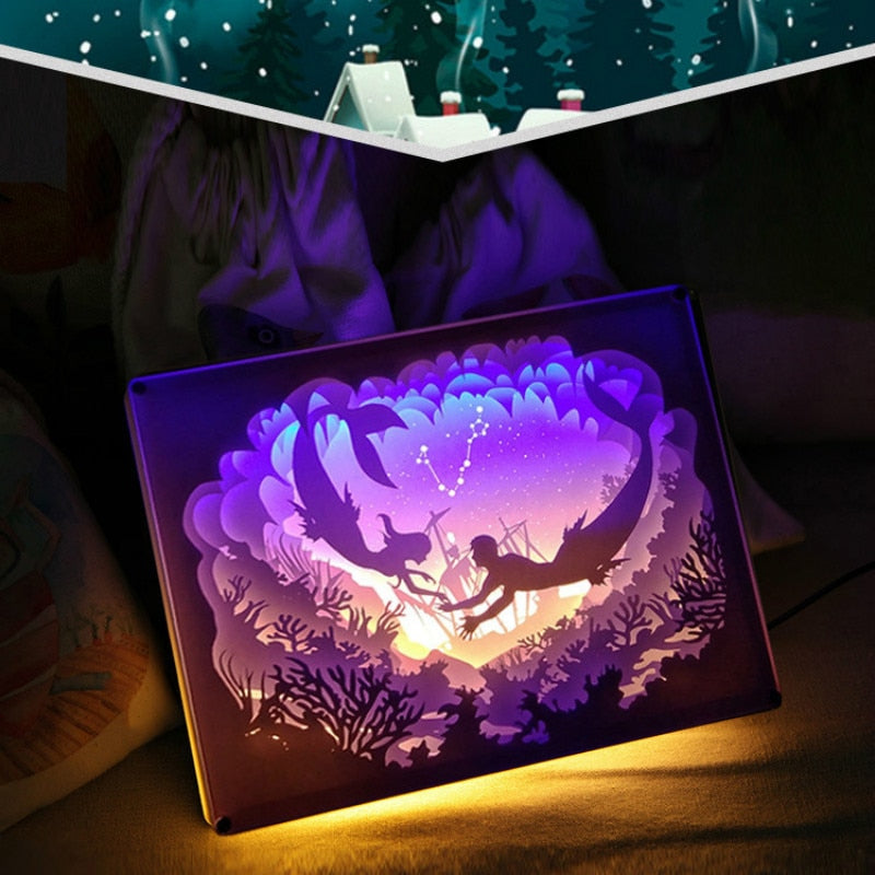 Pisces Constellation Colorful 3D Paper Carving Night Light Lamp