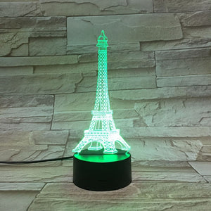 Paris Eiffel Tower 3D LED Illusion Night Light Lamp
