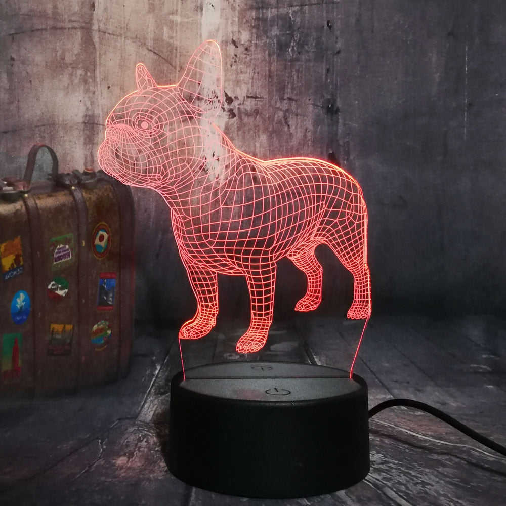 French Bulldog 3D LED Illusion Night Light Lamp