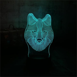 Wolf Head 3D LED Illusion Night Light Lamp
