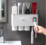 Toothbrush Holder/Cleanser - With Automatic Toothpaste Dispenser and Storage