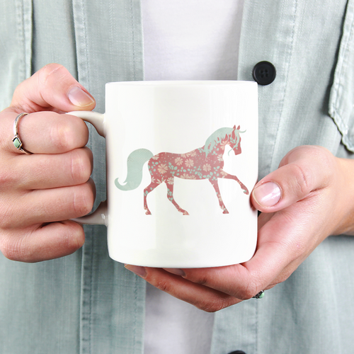 I'm Doing Horse Girl Shit - Floral Horse Coffee Mug