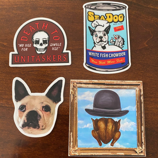 Four dye-cut vinyl stickers, one each depicting the Chicken with Bowler painting, Scabigail, the Scabigail Seadog chowder can, and the Death to Unitaskers insignia.