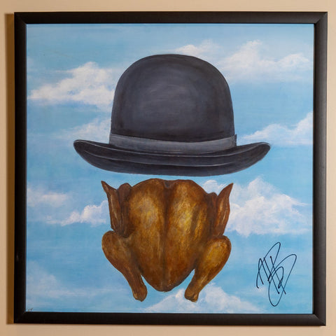 Alton Brown Signed Chicken with Bowler Poster Framed