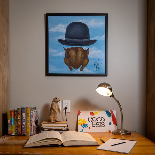 Signed Chicken with Bowler Poster from Good Eats at Desk