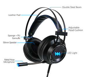 7.1-Gaming-Headset mit Mikrofon
