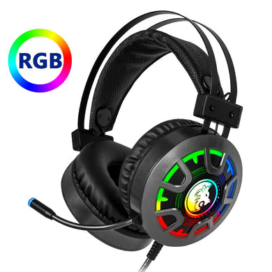 Gaming Headset Headphones with Microphone, Depp Bass Surround, RGB Light, 3.5mm Wired for PC Computer, PS4