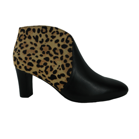 black and leopard print high heeled boots
