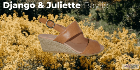 beautiful tan brown leather wedge sandal sitting on a bed of yellow flowers