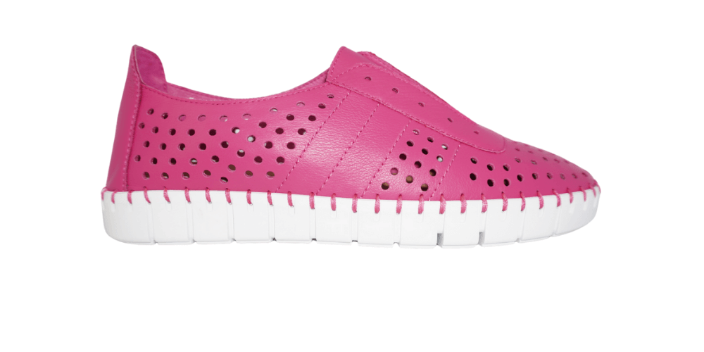 Pink sneakers with white sole