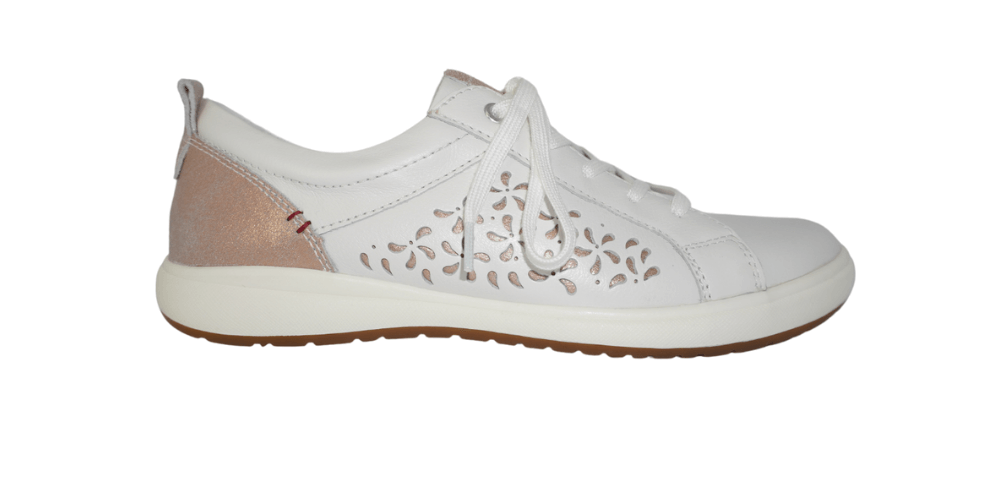 White sneaker with rose gold finishings