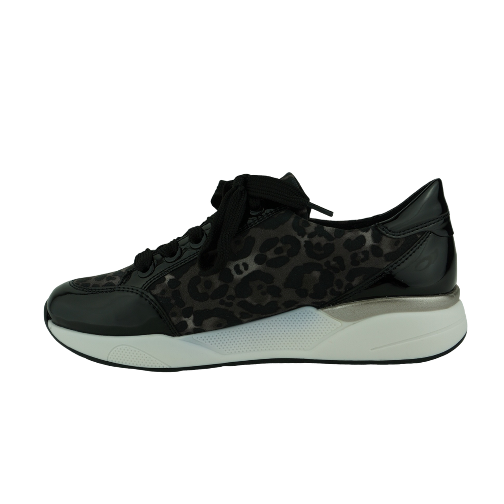 Ara 14664 Black Leopard Leather Sneakers