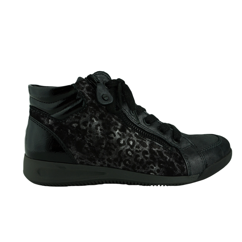Ara 44407 Black Iron Leopard Sneakers