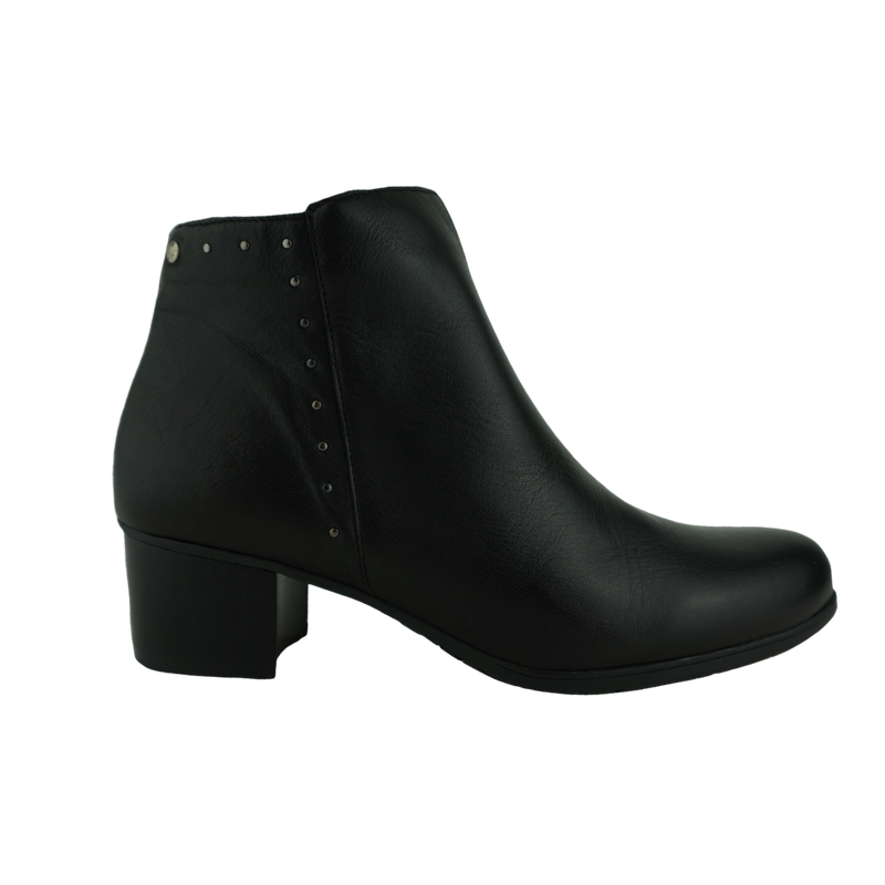 Zeta Gaspara Navy Black Leather Ankle Boots