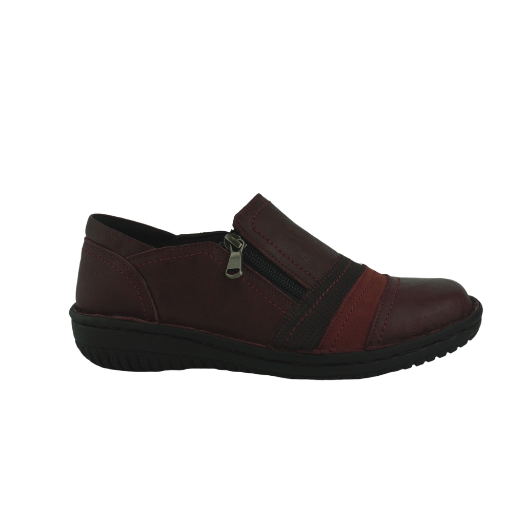 Cabello 945-27 Black Burgundy Leather Comfort Work Shoes