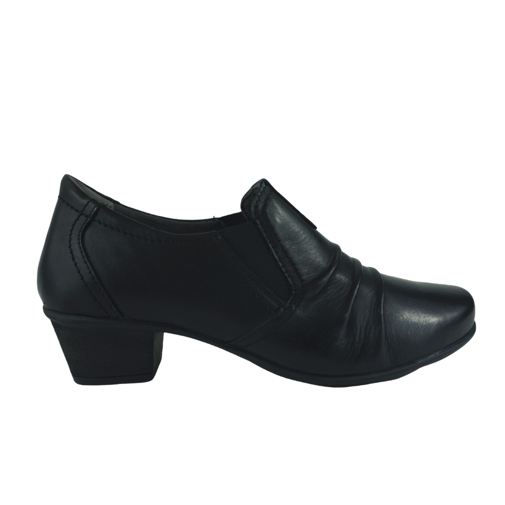 Saimon Angel Black Leather Work Shoes