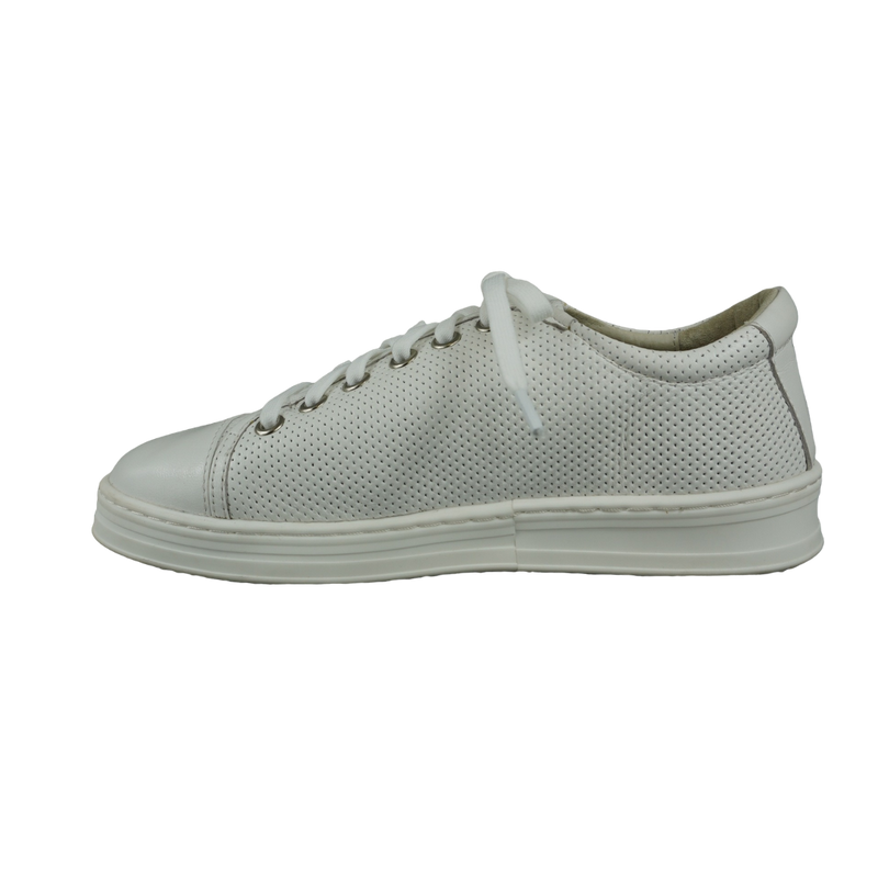 Audrey Avenue Anna Tan White Black Leather Sneakers