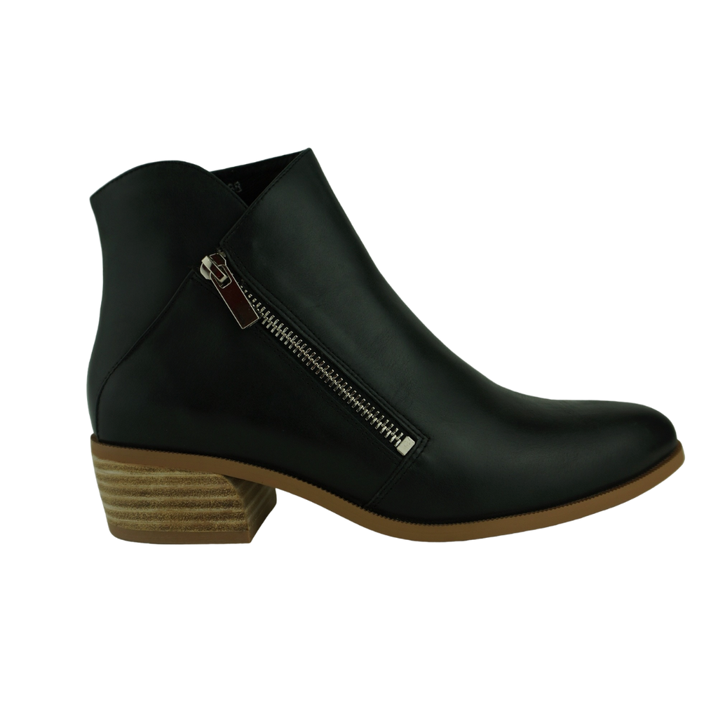 Django & Juliette Candis Black Taupe Leather Ankle Boots