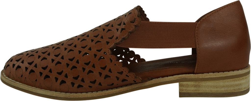 Django & Juliette Anjo Black Cognac Leather Flats