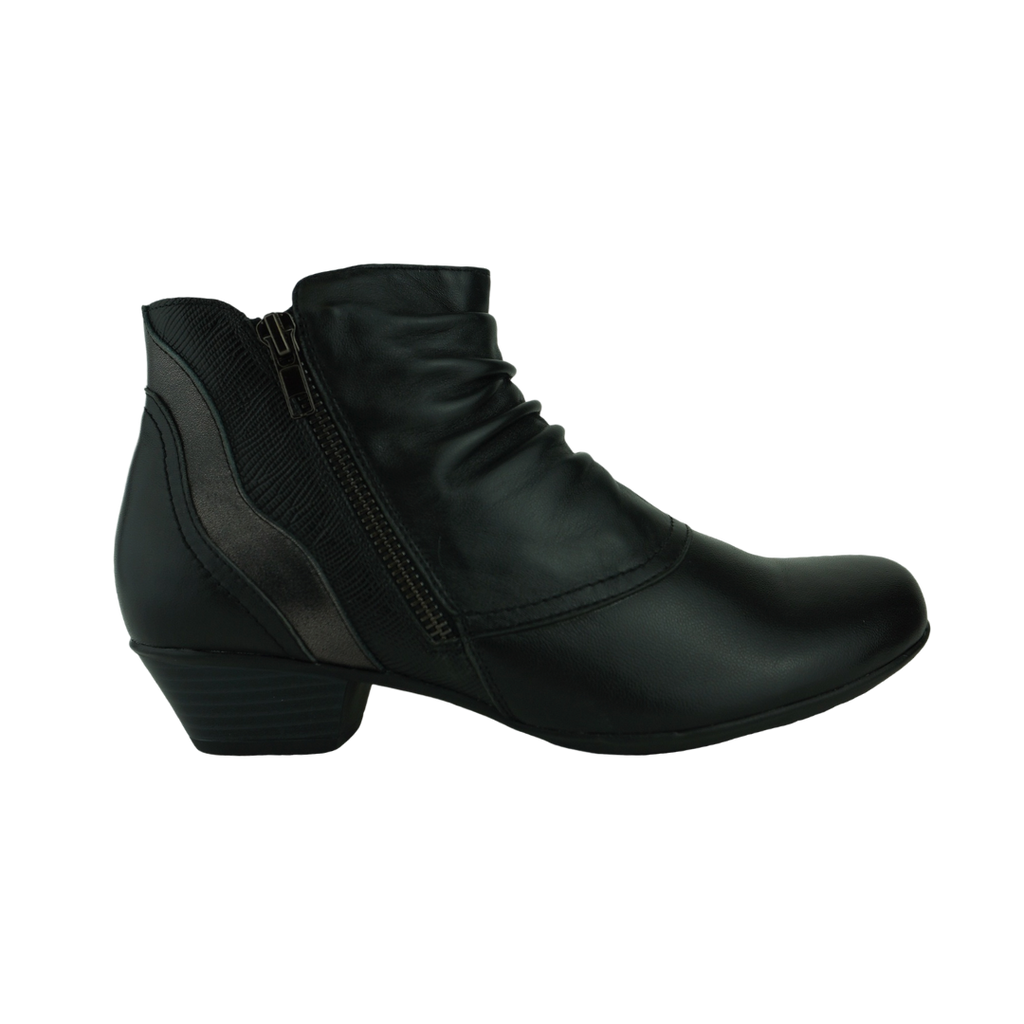 Easy Living Clancy Black Leather Ankle Boots