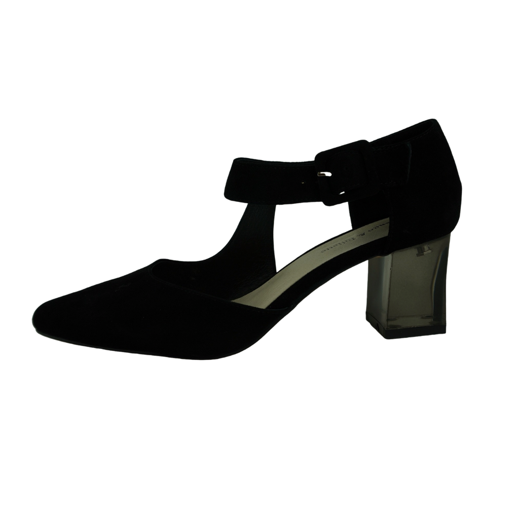 Django & Juliette Happie Black Suede Heels