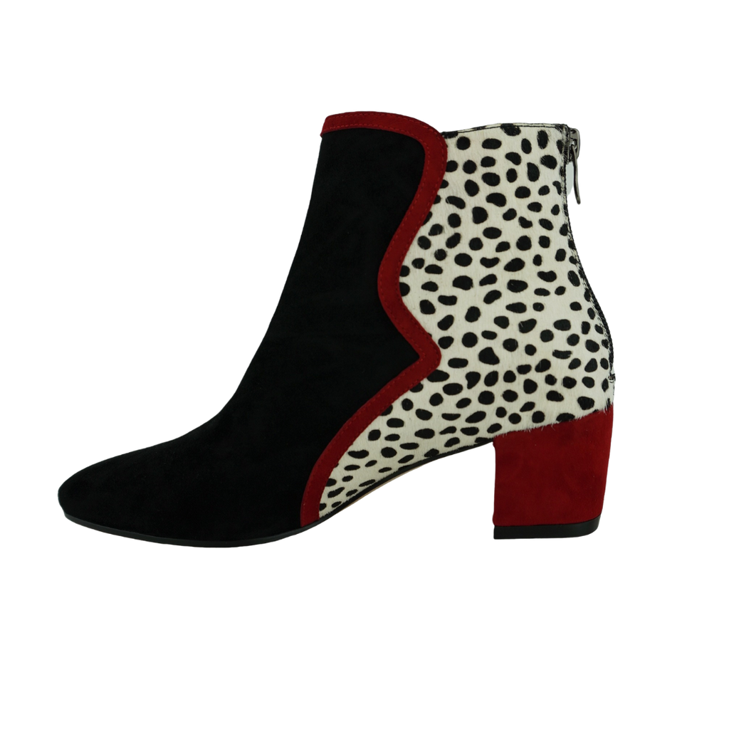 Django & Juliette Hedy Black Red White Spot Suede Ankle Boots