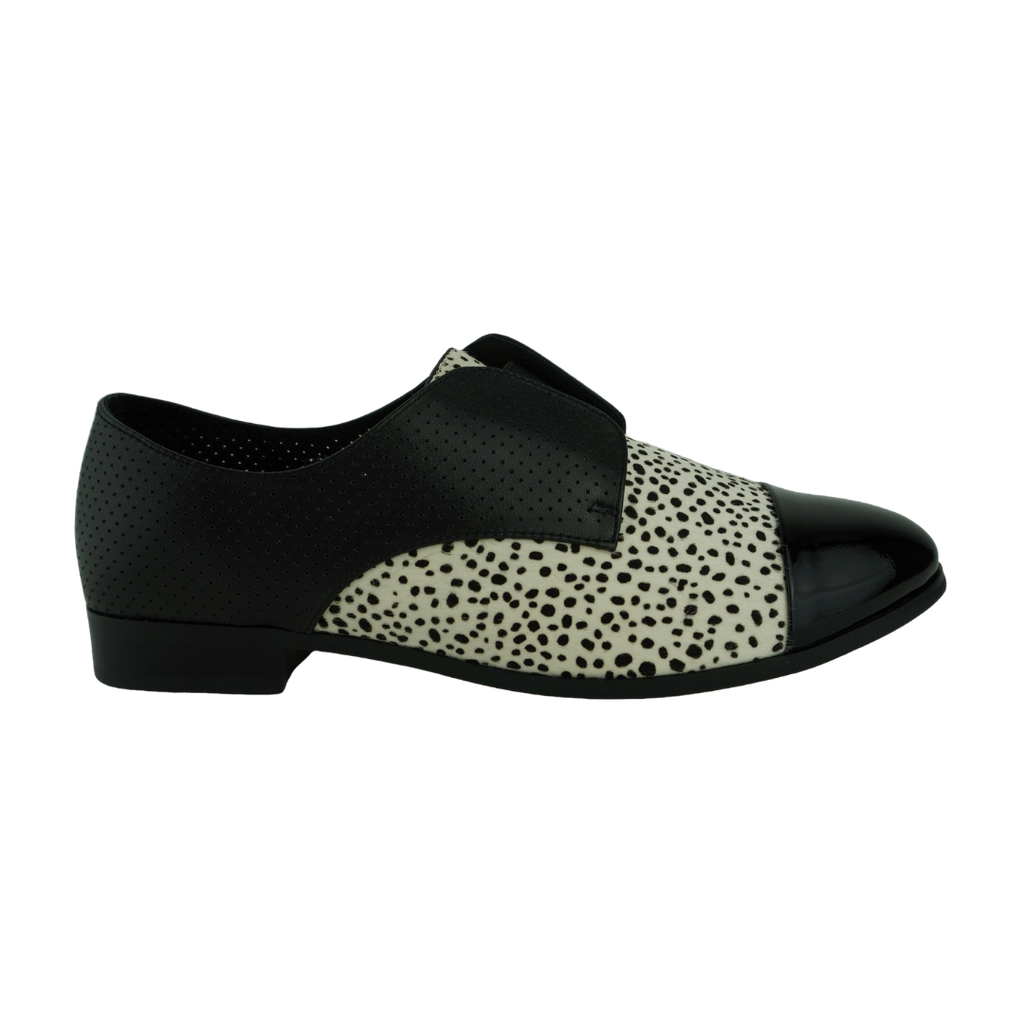 Django & Juliette Josie Black White Ocelot Leather Brogue