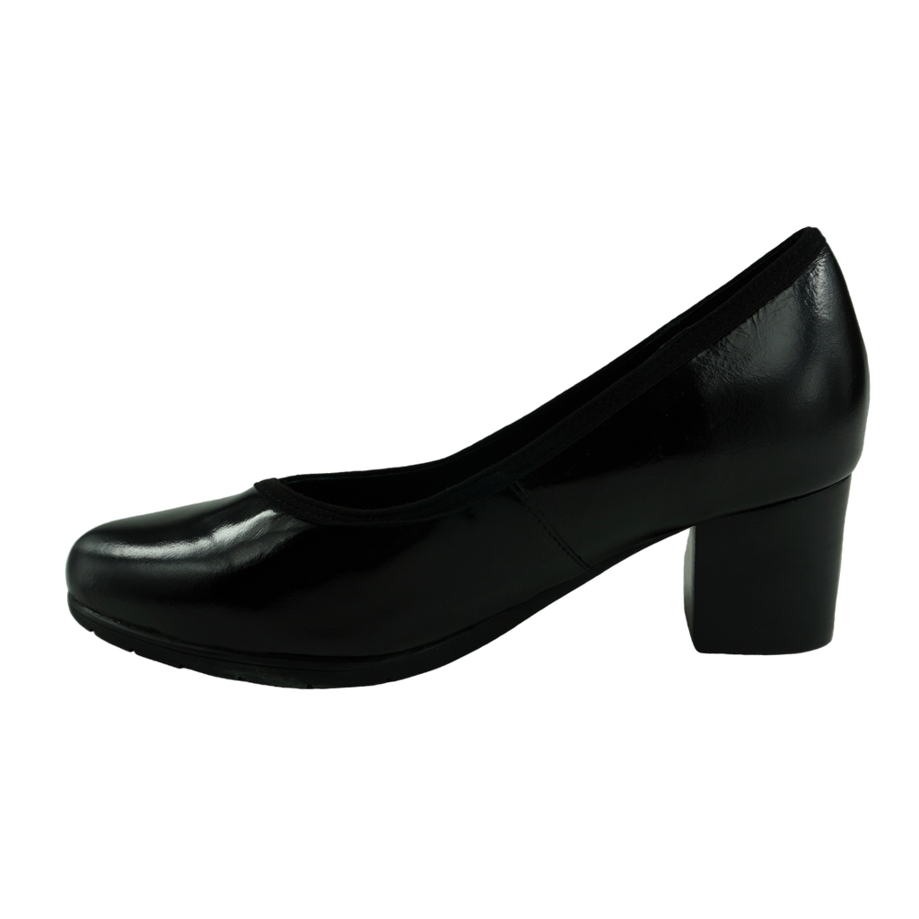 Klouds Mackenzie Black Leather Court Shoes