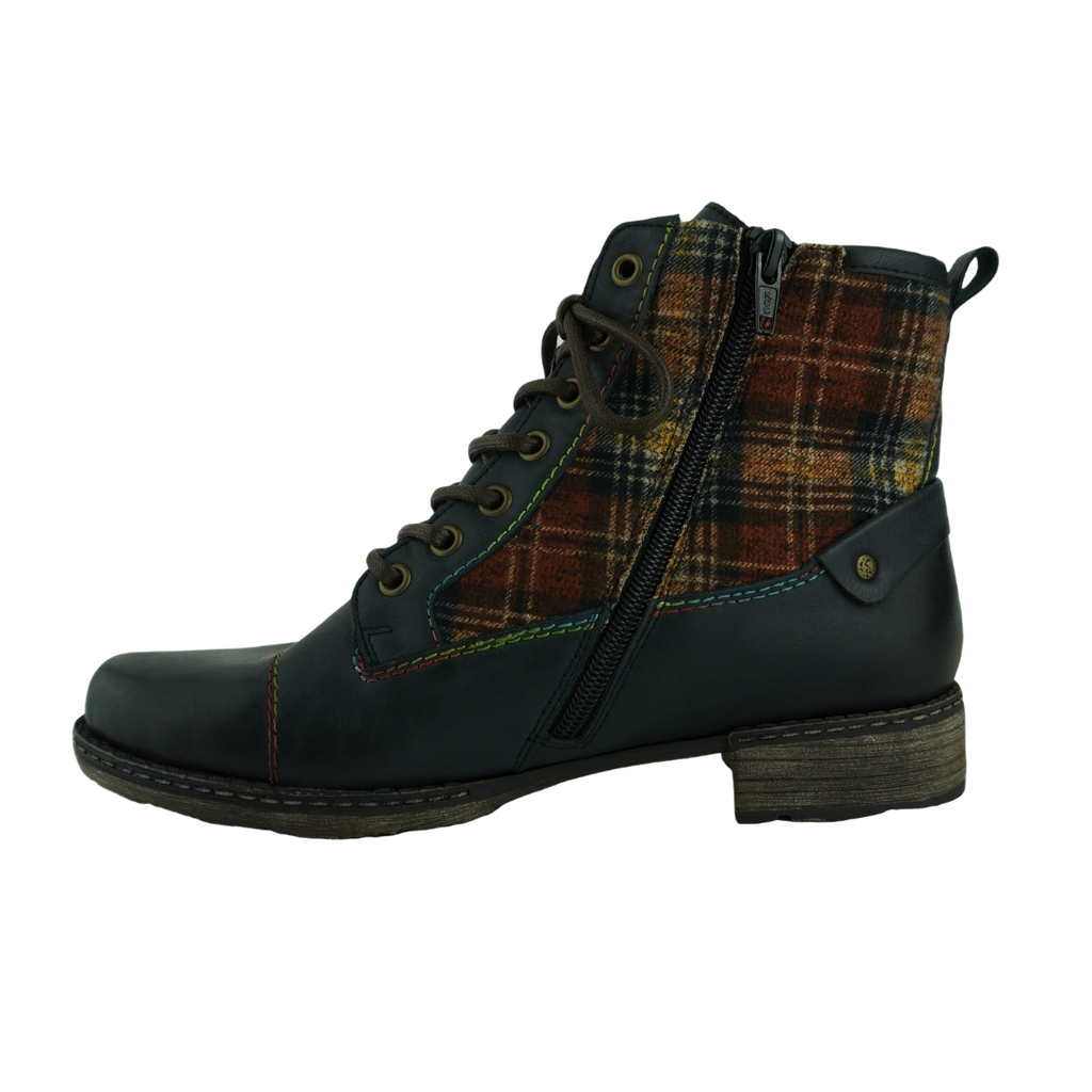 Rieker D4354 Navy Leather Tartan Ankle Boots