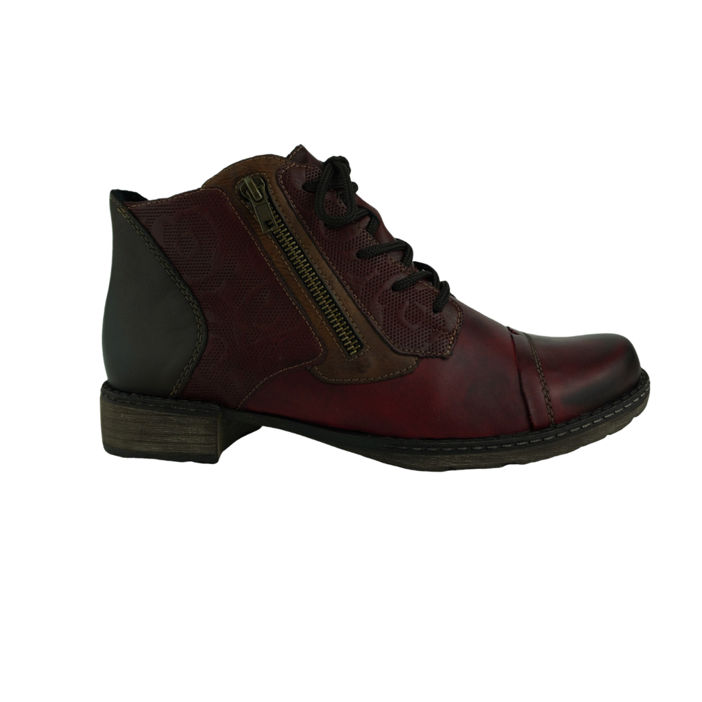 Rieker D4378 Red Navy Tan Leather Ankle Boots