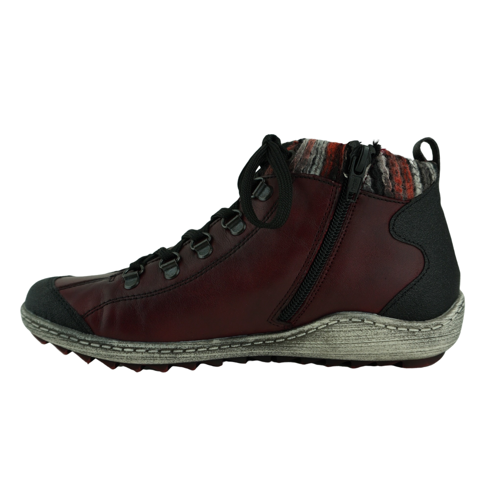 Rieker R1495 Red Black Leather Leisure Shoes