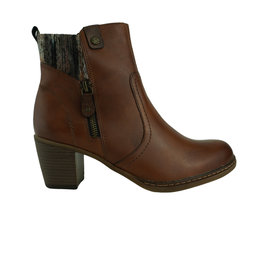 Rieker R4674 Tan Leather Ankle Boots