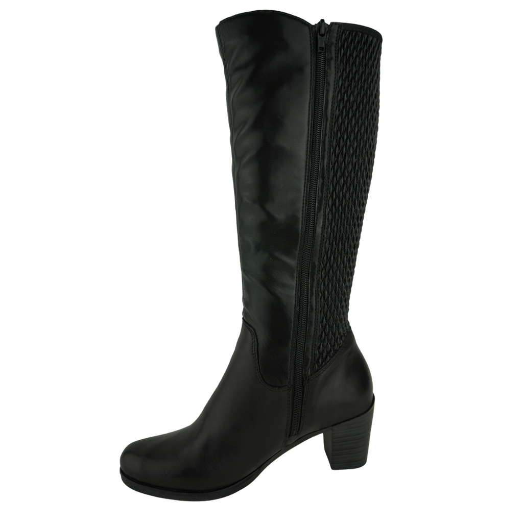 Rieker Y8995 Black Leather Long Boots