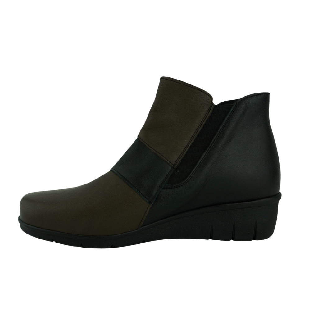 Saimon Victoria Black Taupe Leather Ankle Boots