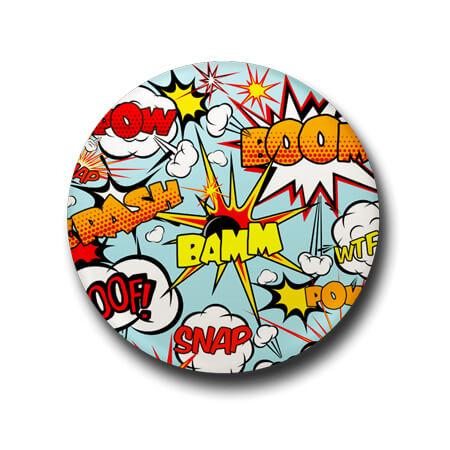Comic font badge pin