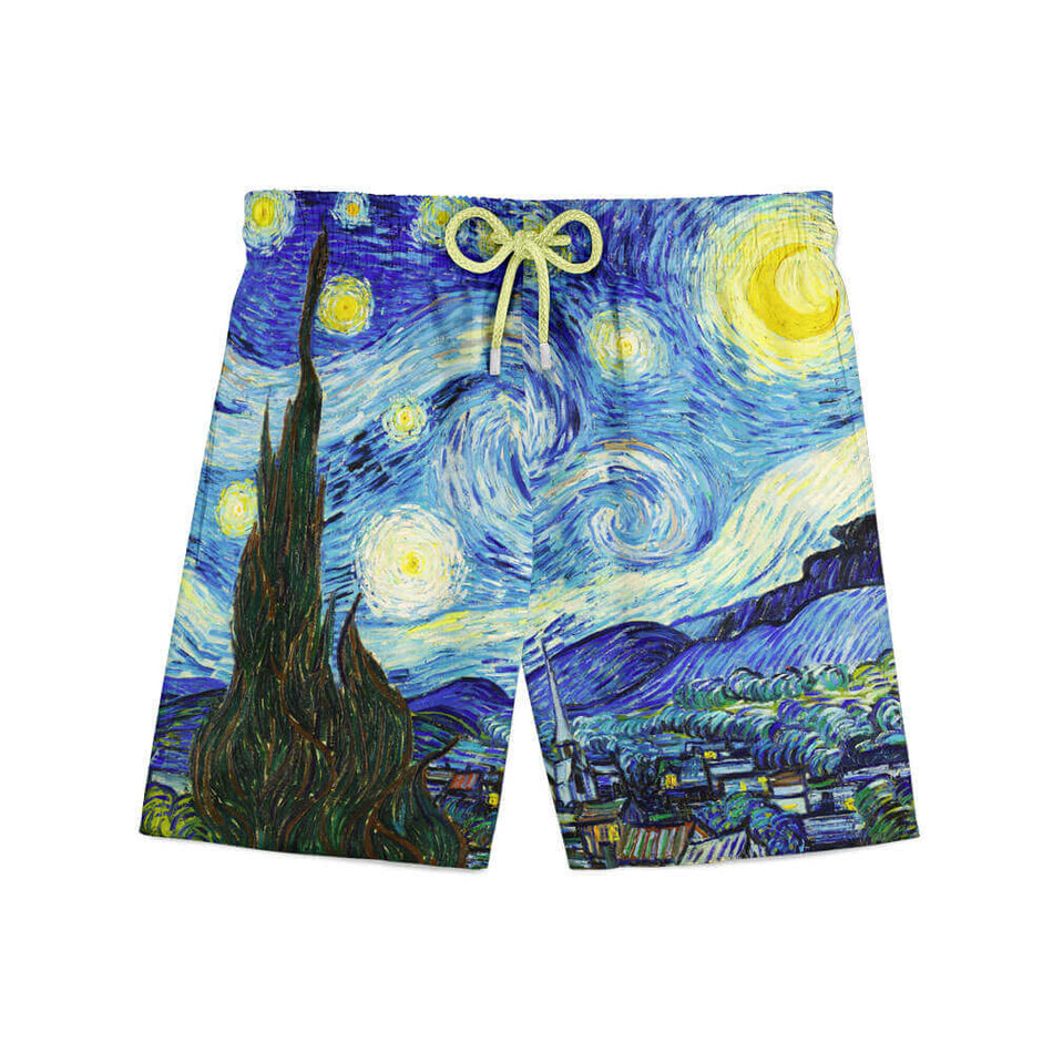 Van Gogh starry night shorts front