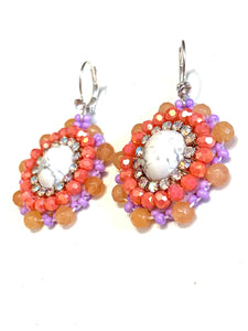 Howlite stone beaded earrings