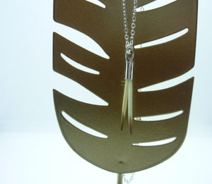 Double Porcupine Quill necklace - (Silver Chain)