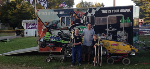 Quarter Midget Race Winners with the Pit Products team and enclosed trailer