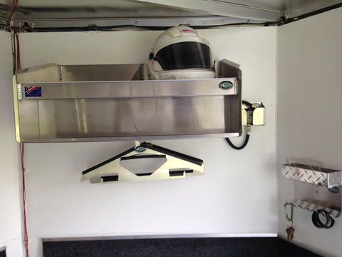 enclosed trailer helmet bay with trailer coat hanger and key chain caddie